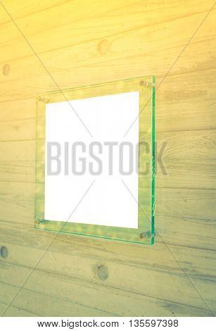 Transparent glass sign ( Filtered image processed vintage effect. )