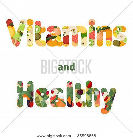 Healthy lifestyle concept. Letters with icons of healthy foods - fruits and vegetables.