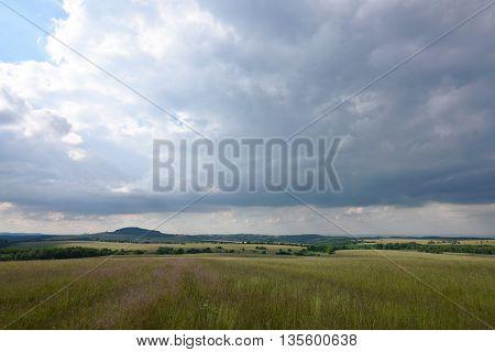 Krusne hory mountains in summer day near Krasny Les village