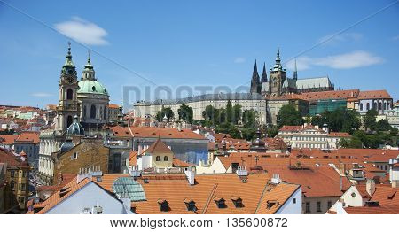 view of Prague Castle, St. Vitus Cathedral and Lesser Town from Lesser Town Bridge Tower (Charles Bridge)