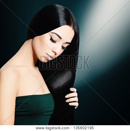 Long Hair Brunette Woman on black ackground