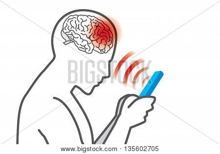 Radiation from mobile phone lead to brain damage. Medical illustration.