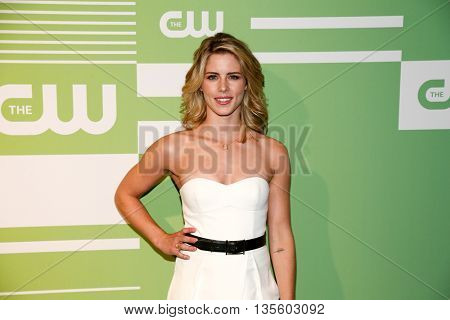 NEW YORK, NY - MAY 14: Actress Emily Bett Rickards attends the 2015 CW Network Upfront Presentation at the London Hotel on May 14, 2015 in New York City.