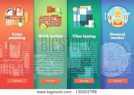 Set of building and construction vector flat banners. Design and renovation vertical layout concepts. Flat modern style.