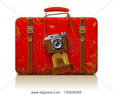 Red vintage threadbare suitcase with a retro photo camera. Vector illustration