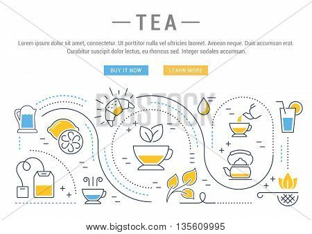 Flat line illustration of tea tea ceremony and sale of tea beverages. Concept for web banners and printed materials. Template with buttons for website banner and landing page.