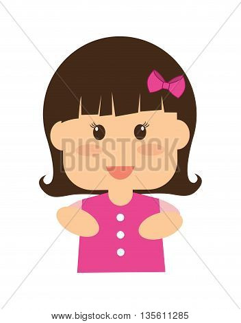 Kid and chilhood represented by little girl over isolated and flat background
