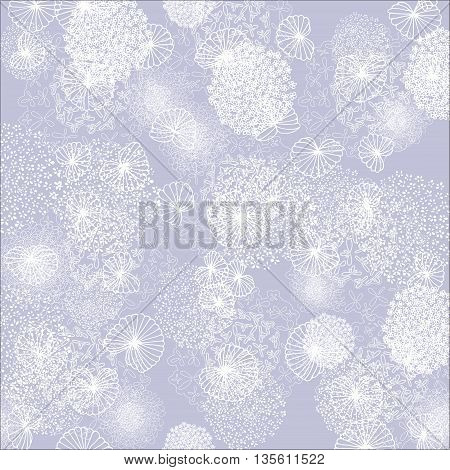 Pretty White Flowers on a Purple Background - Seamless Pattern