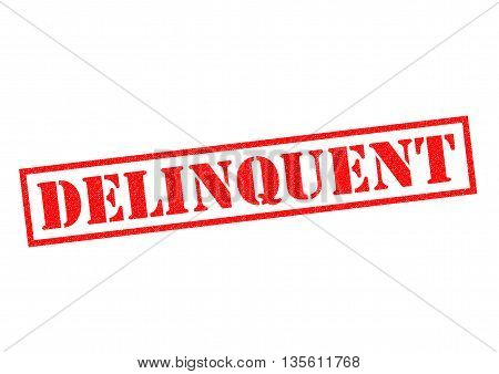 DELINQUENT red Rubber Stamp over a white background.