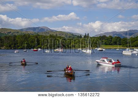 CUMBRIA UK - MAY 29TH 2016: A view from Waterhead near Ambleside on Lake Windermere in the Lake District National Park on 29th May 2016.