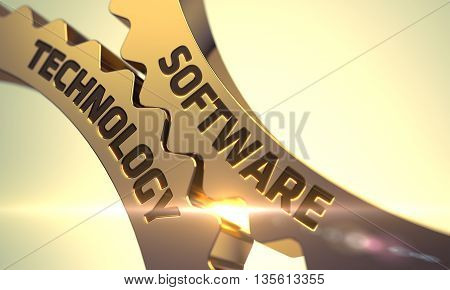 Software Technology - Concept. Software Technology Golden Metallic Cog Gears. Software Technology on Golden Metallic Cogwheels. Software Technology - Illustration with Glow Effect and Lens Flare. 3D.