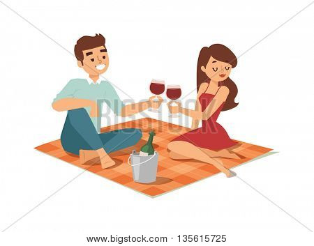 date flirting boy and girl vector illustration.