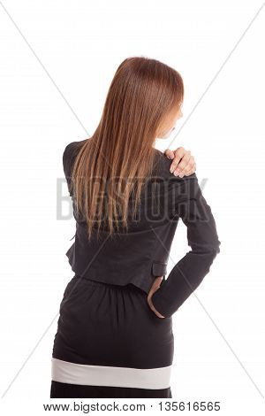 Young Asian Business Woman Got Back Pain