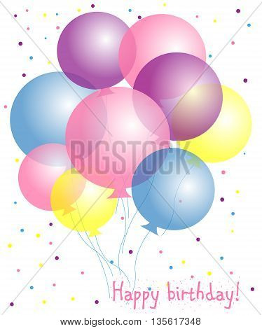 Happy birthday postcard with balloons for baby. Pastel colors.