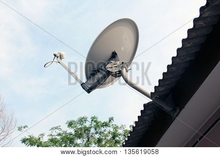 White Satellite dish on the roof with sky background