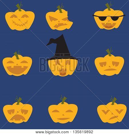 Doodle Halloween expresion pumpkins vector art illustration
