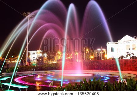 Colorful Water Fountain on the black night