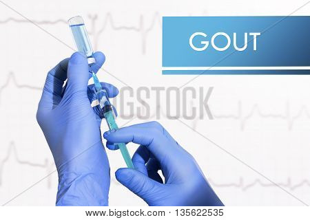 Stop gout. Syringe is filled with injection. Syringe and vaccine