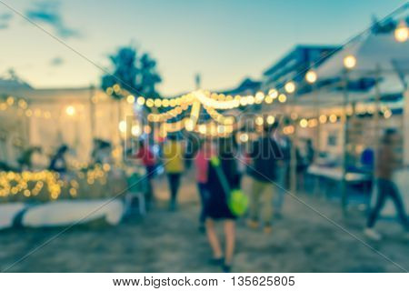 Blur Image Of Night Festival On Street Blurred Background With Bokeh.