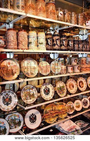 Vienna, Austria- 30 August, 2015 : various souvenirs of Vienna and Austria on sale in Hundertwasser village 30 August in Vienna, Austria
