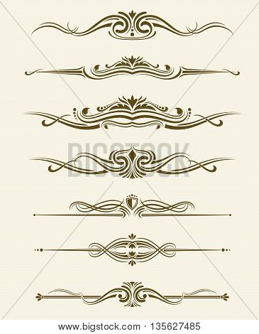 Retro flourishes page dividers, decorative ornament borders. Vector calligraphic elements. Divider calligraphic element and illustration set of retro classic divider
