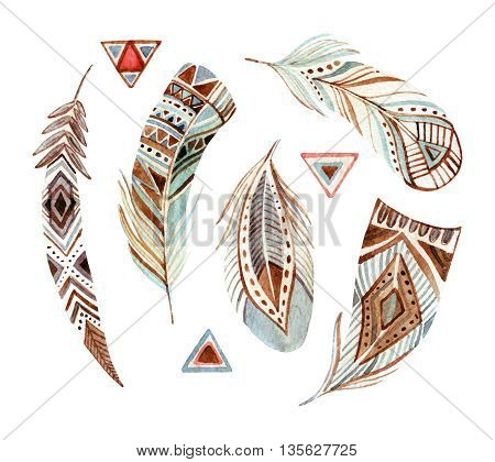 watercolor tribal feather set in natural colors. Abstract ornate feather collection. Hand painted illustration isolated on white background for design in tribal and boho style