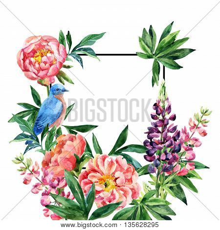 Watercolor garden flowers card. Lupin peony flowers bluebird with black square frame on white background. Hand painted illustration with paper texture
