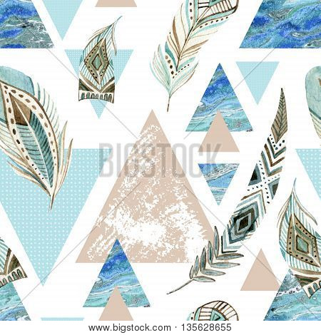 Abstract grunge geometric seamless pattern with decorative feathers. Triangles with marble grunge textures. Abstract geometric background in retro vintage 80s or 90s. Hand painted boho illustration