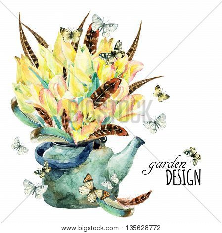 Watercolor floral garden card with tulips feathers butterfly and teapot. Romantic flowers in rusty kettle vintage rustic background. Floral illustration for greetings invitations wedding design