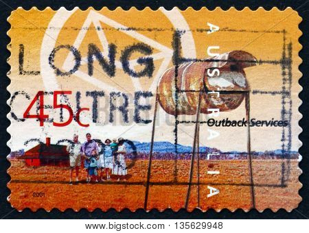 AUSTRALIA - CIRCA 2001: a stamp printed in the Australia dedicated to Postal Service Outback Services circa 2001