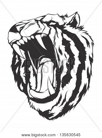 Tiger head. Monochromatic logo for your t-shirt.