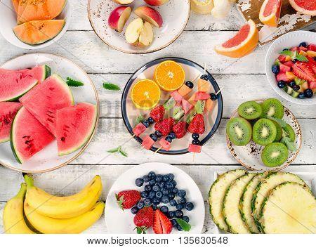 Fresh Fruits Background. Healthy Diet Food.