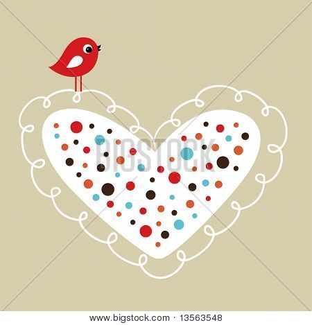 vector bird with heart