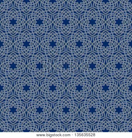 Arabesque floral pattern. Entwined flowers in arabic geometry style. Geometric flowers in seamless vector pattern. Pattern with abstract flowers in oriental arabesque style. Seamless vector background