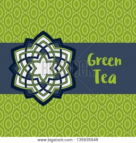 Bright greeting card with Lotus flower. Abstract blue background. Stylized lotus flower icon. Vector illustration. Blue floral pattern background. Sample text - Green tea.