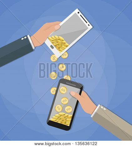 Mobile banking concpet. People sending and receiving money wireless with their mobile phones. Hands holding smart phones with banking payment apps. Vector illustration in flat style on blue background