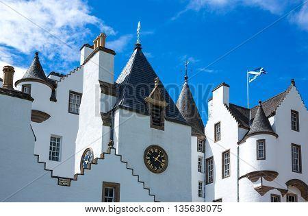 Perthshire Scotland - July 27 2012: Blair Atholl the Blair castle home of the Duke of Athool.
