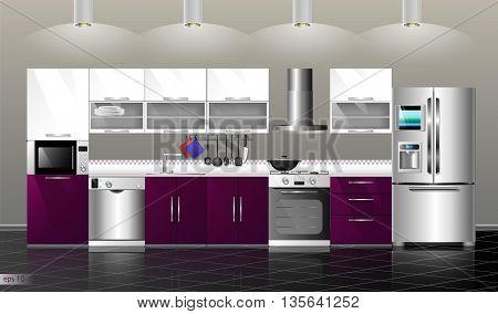 Modern kitchen interior. Vector illustration kitchen purple. Household kitchen appliances: cabinets shelvesgas stove cooker hood refrigerator microwave dishwasher cookware
