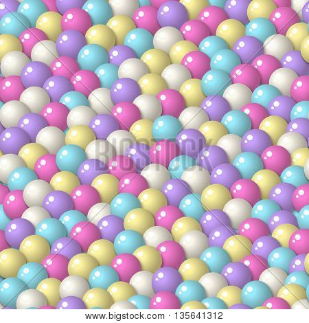 Colorful pattern with a lot of gumballs mixed pastel colors. Seamless vector background. Bright game background with glossy balls.
