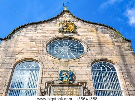 Great Britain Scotland Edinburgh Royal Mile the Canongate Kirk detail of the facade. poster