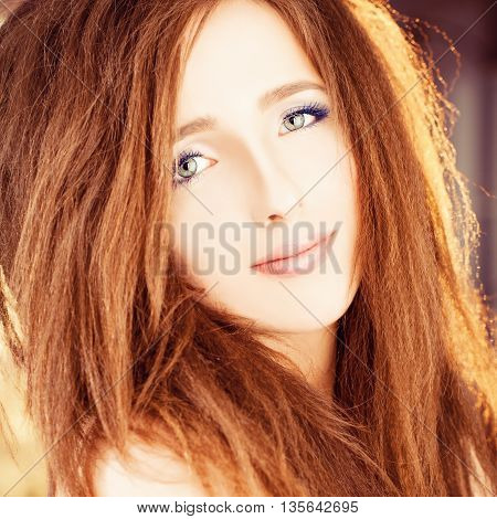 Pretty Woman looking. Face closeup. Fashion Portrait