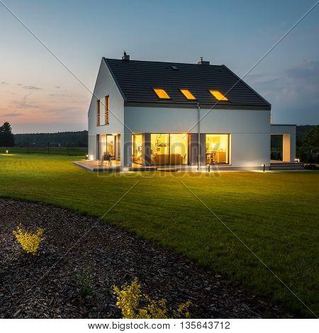 Stylish And Modern House At Night