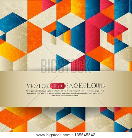 Vector abstract background with a geometrical ornament and place for text. Retro style with grunge effect.