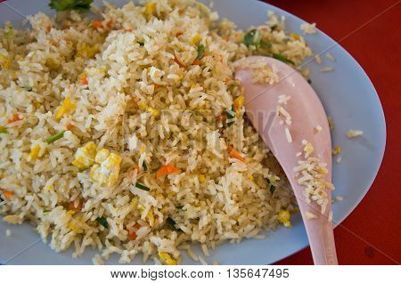 Fried rice with vegetable and egg, ready to eat