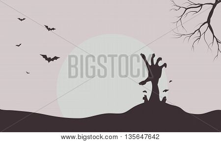 Silhouette of hand zombie and bat illustration