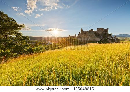 Ruin of a medieval castle over Beckov village in Slovakia.