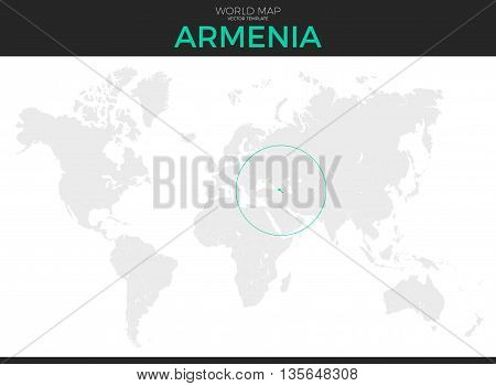 Republic of Armenia location modern detailed vector map. All world countries without names. Vector template of beautiful flat grayscale map design with selected country and border location