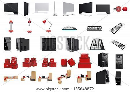 Furniture set for working place with tech and office stuff. 3d graphic