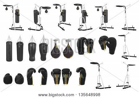 Set boxing equipment gloves, punching bag, stand. 3D graphic poster