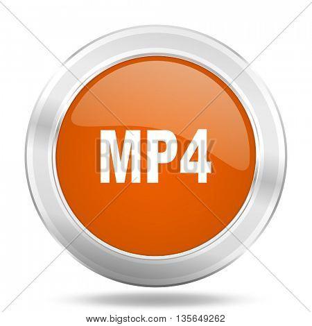 mp4 vector icon, metallic design internet button, web and mobile app illustration